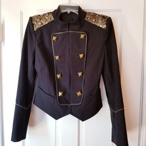 EXPRESS Military Jacket Sequin Studded Zippers 6